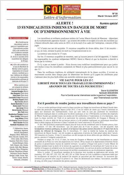 lettre du Comité ouvrier international