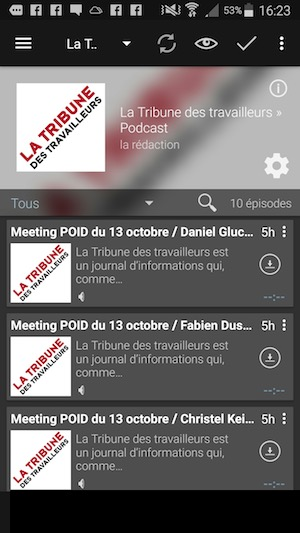 Podcast Addict sur Androïd