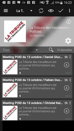 Podcast Addict sur Androïd